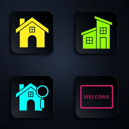 Set Doormat with the text Welcome, House, Search house and House. Black square button. Vector