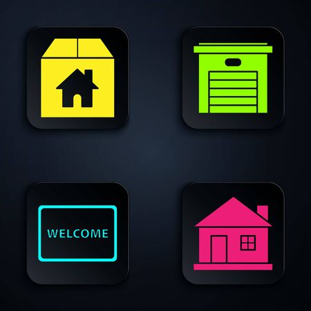Set House, Cardboard box with house, Doormat with the text Welcome and Garage. Black square button. Vector