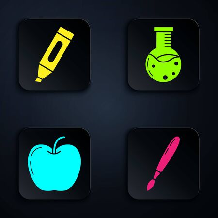 Set Paint brush, Marker pen, Apple and Test tube and flask chemical laboratory. Black square button. Vector