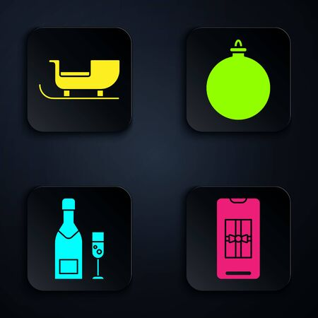 Set Smartphone with gift box, Christmas santa claus sleigh, Champagne bottle and glass of champagne and Christmas ball. Black square button. Vector  イラスト・ベクター素材