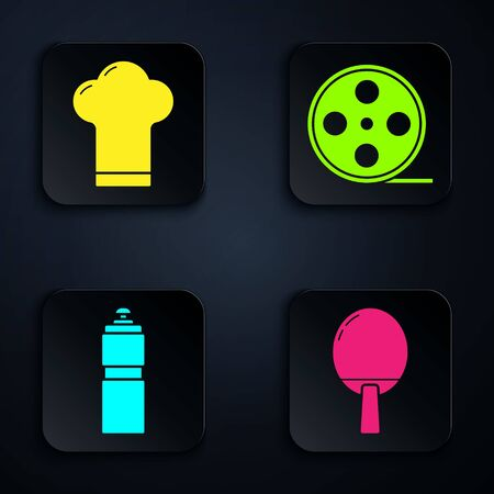 Set Racket for playing table tennis, Chef hat, Fitness shaker and Film reel. Black square button. Vector Vectores