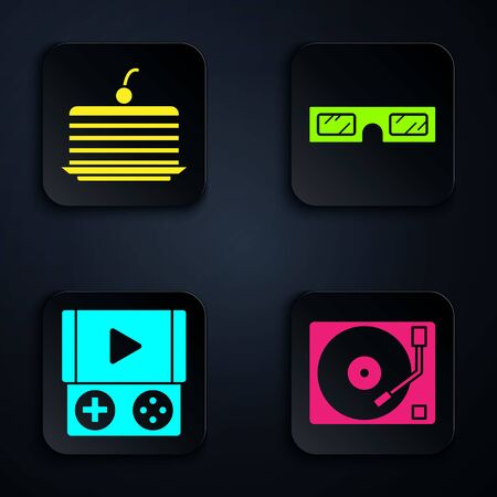 Set Vinyl player with a vinyl disk, Cake, Portable video game console and 3D cinema glasses. Black square button. Vector