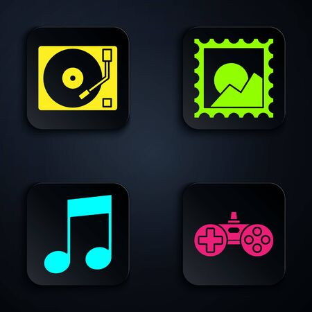 Set Gamepad, Vinyl player with a vinyl disk, Music note, tone and Picture landscape. Black square button. Vector 向量圖像