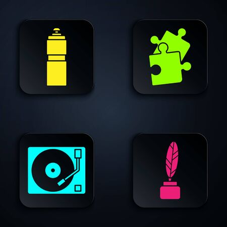 Set Feather and inkwell, Fitness shaker, Vinyl player with a vinyl disk and Piece of puzzle. Black square button. Vector
