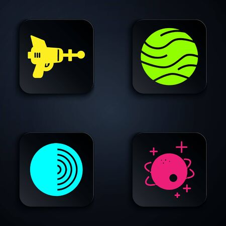 Set Planet, Ray gun, Earth structure and Planet. Black square button. Vector