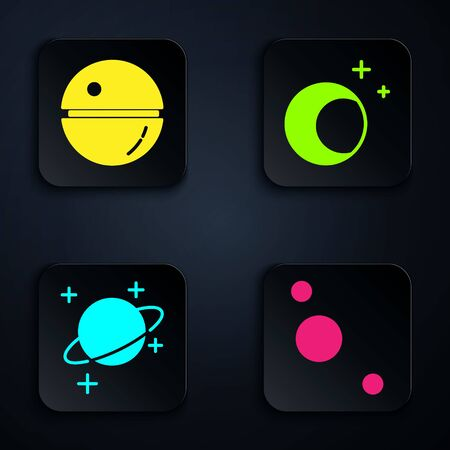 Set Solar system, Death star, Planet and Moon and stars. Black square button. Vector