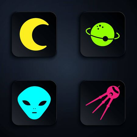 Set Satellite, Moon and stars, Alien and Planet. Black square button. Vector  イラスト・ベクター素材