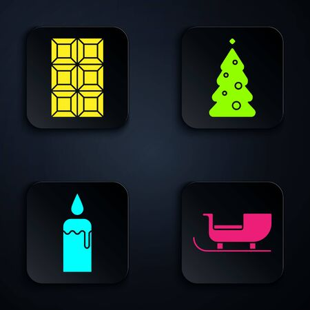 Set Christmas santa claus sleigh, Chocolate bar, Burning candle in candlestick and Christmas tree with decorations. Black square button. Vector