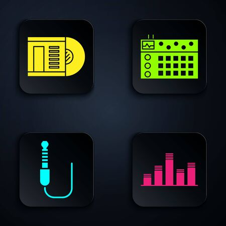 Set Music equalizer, Vinyl disk, Audio jack and Drum machine. Black square button. Vector