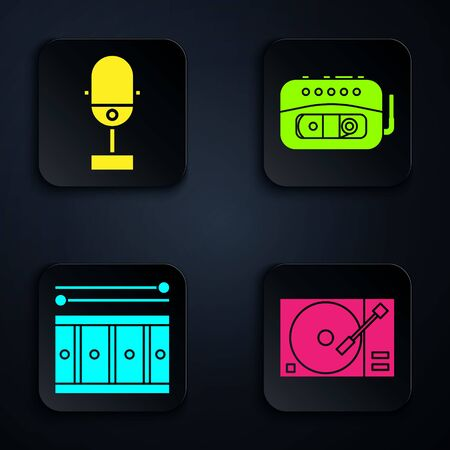 Set Vinyl player with a vinyl disk, Microphone, Drum with drum sticks and Music tape player. Black square button. Vector