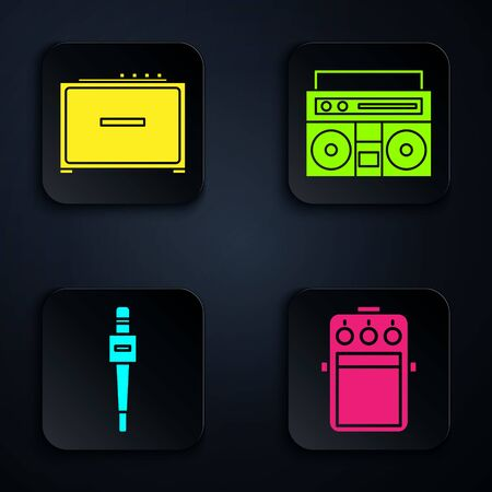 Set Guitar pedal, Guitar amplifier, Microphone and Home stereo with two speakers. Black square button. Vector