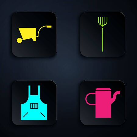 Set Watering can, Wheelbarrow, Kitchen apron and Garden pitchfork. Black square button. Vector