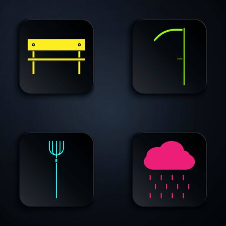 Set Cloud with rain, Bench, Garden pitchfork and Scythe. Black square button. Vector Иллюстрация
