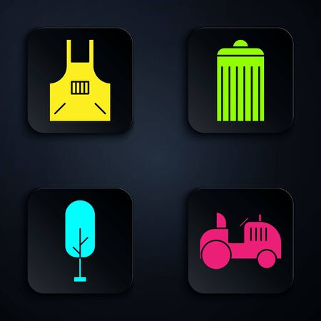 Set Tractor, Kitchen apron, Tree and Trash can. Black square button. Vector