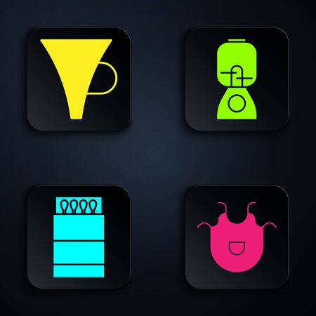 Set Kitchen apron, Funnel or filter, Open matchbox and matches and Blender. Black square button. Vector