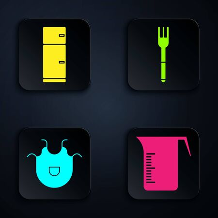 Set Measuring cup, Refrigerator, Kitchen apron and Fork. Black square button. Vector 向量圖像