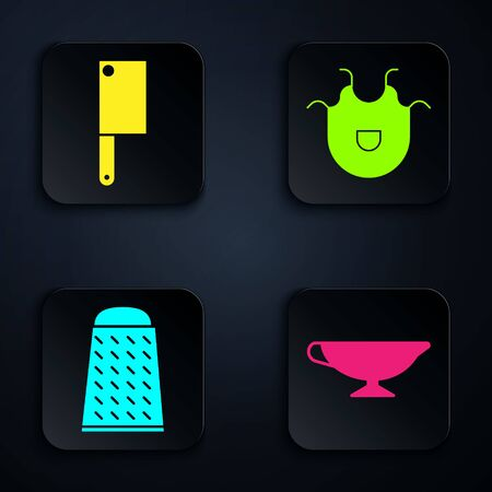 Set Sauce boat, Meat chopper, Grater and Kitchen apron. Black square button. Vector 向量圖像