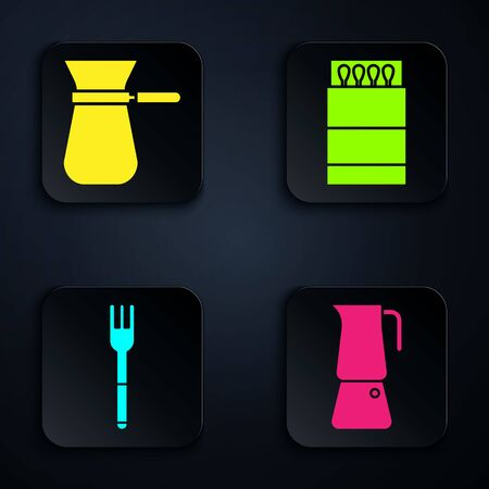 Set Moka pot, Coffee turk, Fork and Open matchbox and matches. Black square button. Vector Vettoriali