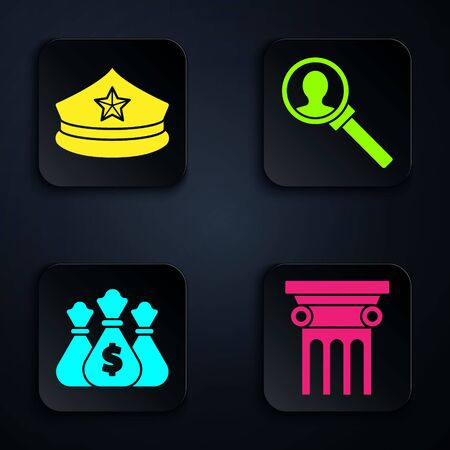 Set Law pillar, Police cap with cockade, Money bag and Magnifying glass for search. Black square button. Vector