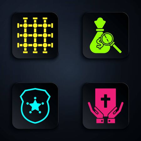 Set Oath on the Holy Bible, Prison window, Police badge and Money bag and magnifying glass. Black square button. Vector