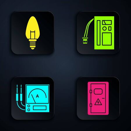 Set Electrical cabinet, Light bulb, Ampere meter, multimeter, voltmeter and Battery. Black square button. Vector Иллюстрация