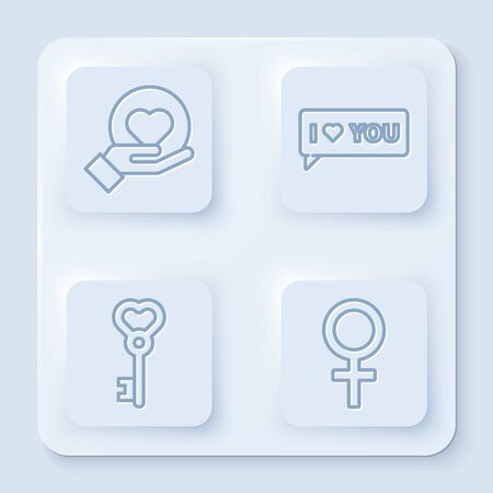 Set line Heart on hand, Speech bubble with I love you, Key in heart shape and Female gender symbol. White square button. Vector