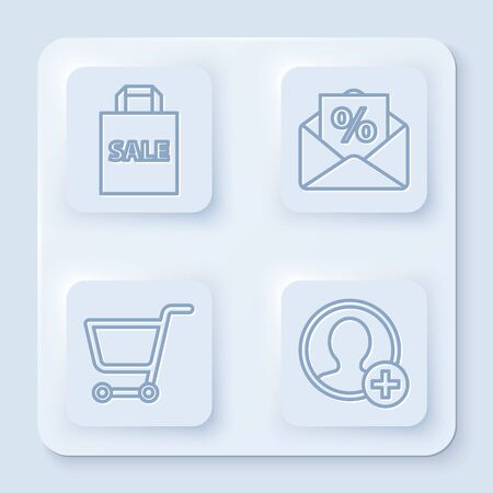 Set line Shoping bag with Sale, Envelope with an interest discount, Shopping cart and Create account screen. White square button. Vector Ilustração