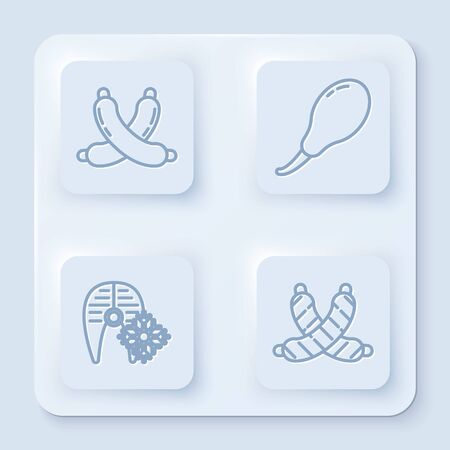 Set line Crossed sausage, Chicken leg, Fresh frozen fish steak and Crossed sausage. White square button. Vector
