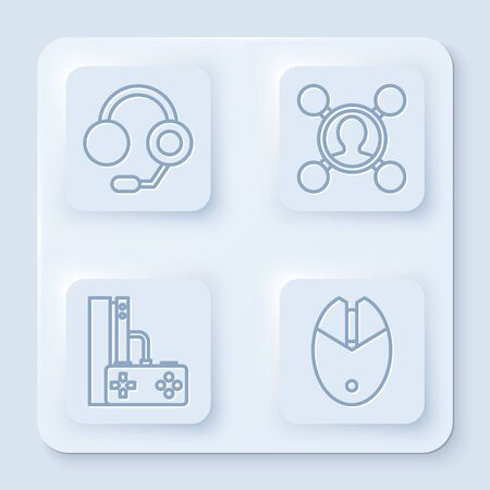Set line Headphones, Share, Game console with joystick and Computer mouse gaming. White square button. Vector