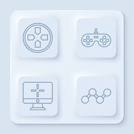 Set line Gamepad, Gamepad, Computer monitor and Share. White square button. Vector
