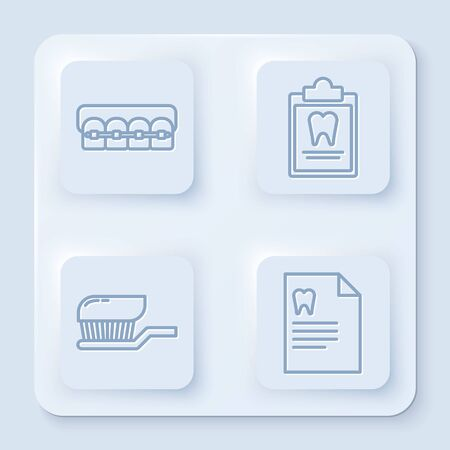 Set line Teeth with braces, Clipboard with dental card, Toothbrush with toothpaste and Clipboard with dental card. White square button. Vector