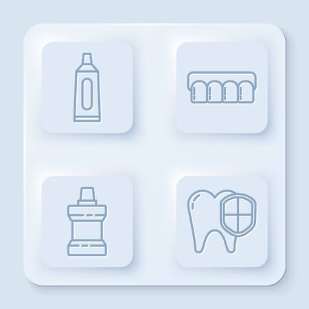 Set line Tube of toothpaste, Dentures model, Mouthwash plastic bottle and Dental protection. White square button. Vector