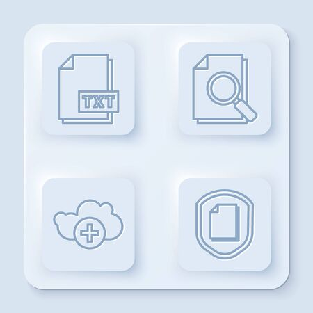 Set line TXT file document, Document with search, Add cloud and Document protection concept. White square button. Vector Иллюстрация