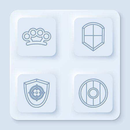 Set line Brass knuckles, Shield, Target sport and Round wooden shield. White square button. Vector Vectores