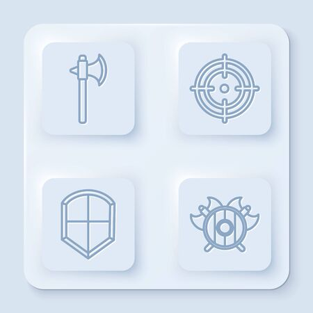 Set line Medieval axe, Target sport, Shield and Medieval shield with crossed axes. White square button. Vector Illustration