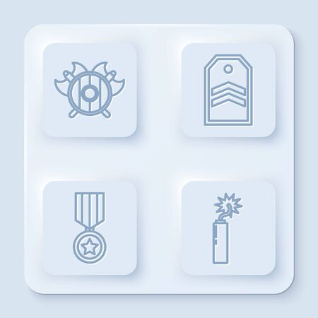 Set line Medieval shield with crossed axes, Chevron, Military reward medal and Dynamite bomb stick clock. White square button. Vector Vettoriali