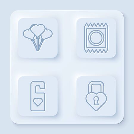 Set line Balloons in form of heart, Condom in package, Please do not disturb with heart and Castle in the shape of a heart. White square button. Vector
