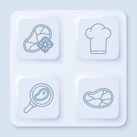 Set line Fresh frozen steak meat, Chef hat, Steak meat in frying pan and Steak meat. White square button. Vector