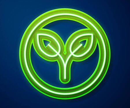 Glowing neon line Bio fuel icon isolated on blue background. Eco bio. Green environment and recycle. Vector Illustration