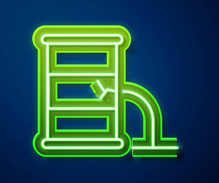 Glowing neon line Barrel oil leak icon isolated on blue background.  Vector Illustration
