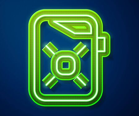 Glowing neon line Canister for motor machine oil icon isolated on blue background. Oil gallon. Oil change service and repair. Engine oil sign.  Vector Illustration