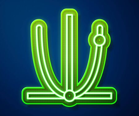 Glowing neon line Ringing bell icon isolated on blue background. Alarm symbol, service bell, handbell sign, notification symbol.  Vector Illustration