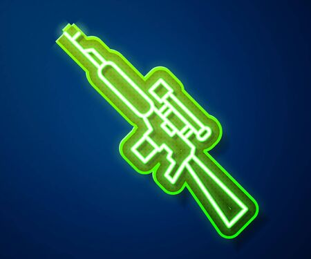Glowing neon line Sniper rifle with scope icon isolated on blue background. Vector Illustration