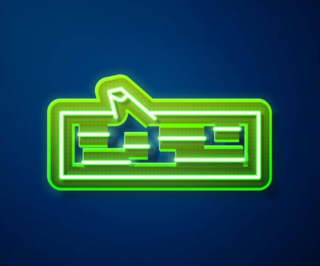 Glowing neon line Wooden log icon isolated on blue background. Vector Illustration