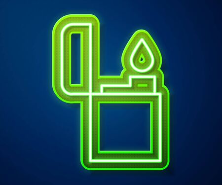 Glowing neon line Lighter icon isolated on blue background. Vector Illustration
