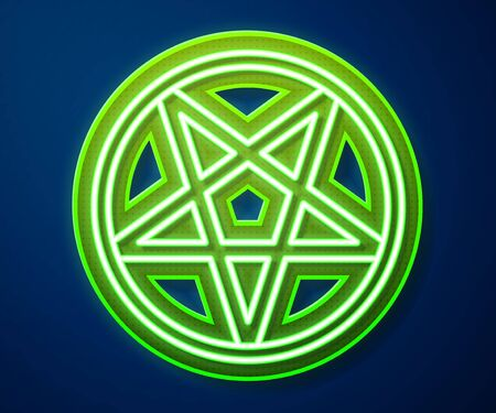 Glowing neon line Pentagram in a circle icon isolated on blue background. Magic occult star symbol. Vector Illustration