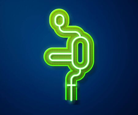 Glowing neon line Hand drill icon isolated on blue background. Vector Illustration Ilustracja