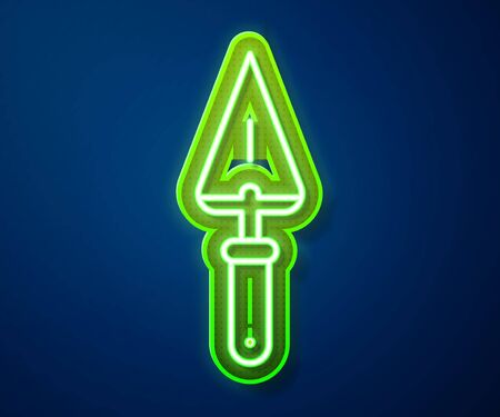Glowing neon line Trowel icon isolated on blue background. Vector Illustration Illustration