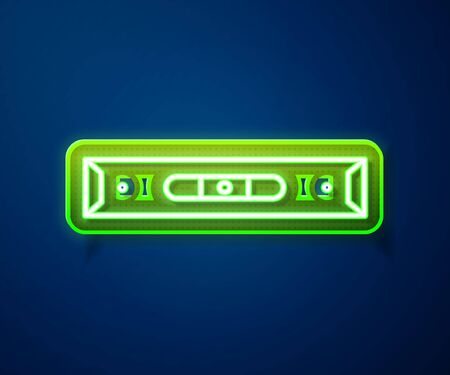 Glowing neon line Construction bubble level icon isolated on blue background. Waterpas, measuring instrument, measuring equipment. Vector Illustration