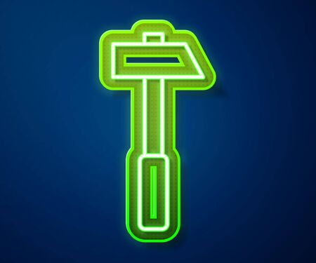 Glowing neon line Hammer icon isolated on blue background. Tool for repair. Vector Illustration